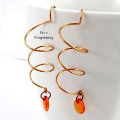 Wire Helix Earrings Tutorial by Rena Klingenberg