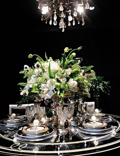 Gorgeous! Romantic Table Setting. Winter and New Years soirée perfection! #tablescape #dining