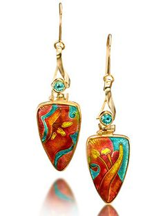 "Patsy Croft Cloisonne Earrings ""Spring Flowers"" with Apatites -Front Fine Art Jewelry of Cloisonne Enamel Gold Luxury Jewelry, Modern Jewelry, Custom Jewelry, Art Nouveau Jewelry, Jewelry Art, Jewelry Design, Artisan Jewelry, Handcrafted Jewelry, Beaded Earrings"