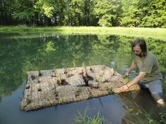 floating plant islands for ponds   http://fuelcincinnati.org/blog/2012/06/18/floating-wetlands-to-fuel-mill-creek-revival/