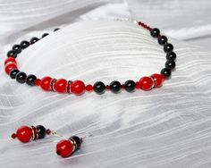 """Swarovski Earrings and Necklace """"Black and red"""""""
