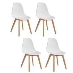 SACHA Lot de 4 chaises de salle à manger scandinaves - Blanc