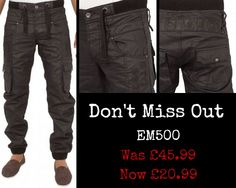 Eto Jeans EM500 http://www.etojeans.co.uk/mens-cuffed-black-coated-jeans-with-elasticated-waist.html
