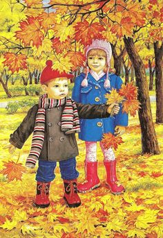 Autumn two brothers and sisters wall art full diamond embroidery new embroidery decoration diy diamond painting cross stitch Autumn Activities, Preschool Activities, Illustrations, Illustration Art, I Love Snow, Autumn Scenes, Fall Crafts, Fall Halloween, Cute Kids