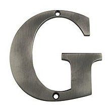 """Deltana RL4G 4"""" Solid Brass Residential Letter G, Antique Nickel by Deltana. $10.80. 4"""" Solid Brass Residential Letter G Deltana's Solid Brass Residential Numbers and Lettering can be mounted on your home, mailbox post or anywhere else. Perfect for addresses or apartment numbers. Deltana is the architectural hardware manufacturer with a proven record for exceptional service and quality. Deltana inventories the country's largest selection of architectural, lighting, and door ..."""