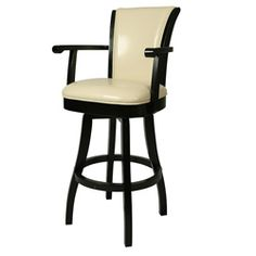 @Overstock - This exceptional Glenwood bar stool is leather upholstered and features a swivel design. A sturdy wood constructed frame in a rich Feher black finish highlights this 30-inch stool.http://www.overstock.com/Home-Garden/Glenwood-30-inch-Wood-Cream-Leather-Swivel-Bar-Stool/5692684/product.html?CID=214117 $278.99