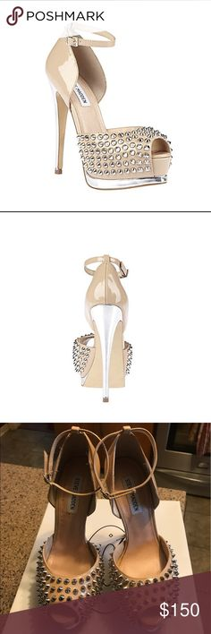 """Steve Madden """"Obstcle-S"""" heels size 8 Gently worn Steve Madden pumps in size 8. The color on the box is blush multi. They are a light tan, cream color with silver accents on the heel, platform, and silver studs. Heel height is about 5 3/4"""" and the platform is about 2"""". Steve Madden Shoes Heels"""