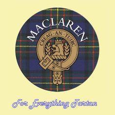 For Everything Genealogy - Clan MacLaren Clan Crest Tartan Cork Round Coasters Set of 2, $12.00 (http://foreverythinggenealogy.mybigcommerce.com/clan-maclaren-clan-crest-tartan-cork-round-coasters-set-of-2/)