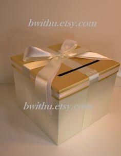 Wedding Gift Boxes Karachi : Gold and Ivory Wedding Card Box Gift Card Box Money Box Holder ...