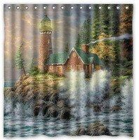 Light up your bathroom with this lighthouse shower curtain!! Please see list for sizes.  Machine wash cold. Do not bleach or tumble dry. Hang dry only.  Fre