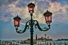 Venice at dusk, featuring those magical pink street lamps
