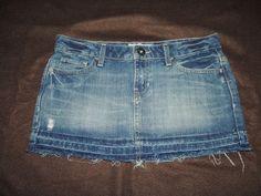 Aeropostale Women's Destoryed Fringed Hemline 5 PKT Blue Jeans Skirt Size 7/8 #2…