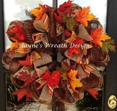 Fall wreaths with fall leaves, deco mesh, burlap and multiple ribbons  Jayne's Wreath Designs on fb
