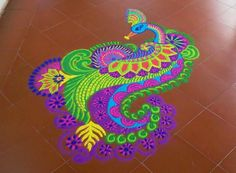 freehand peacock rangoli design by mash -  6