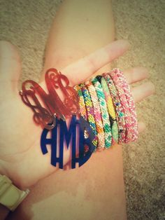 Lilly and Laura bracelets with acrylic monogram personalized