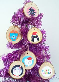 DIY Illustrated Christmas Ornaments with Free Printable Download