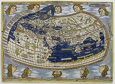 "14th-15th C: Claudius Ptolemy was a Greek writer, mathematician, astronomer, geographer, astrologer, &poet.Around 1410 Arab scholars reintroduced Europeans to Ptolemy's ""Geography""a work that synthesized the geographical knowledge of the classical world.This work depicted the world as round going against the previous notion that it was flat.It also introduced the idea of longitude&latitude to plot position accurately.This allowed travel to be more precise&accurate,therefore safer&more…"