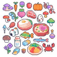 """""""Food from The Legend of Zelda: Breath of the Wild Pixel Art Food, How To Pixel Art, Anime Pixel Art, Pixel Art Games, Art Pikachu, Faire Du Pixel Art, Modele Pixel, Pixel Drawing, Pix Art"""