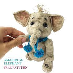 Cute Elephant, Free Crochet, Free Pattern, Crochet Patterns, Teddy Bear, Toys, Animals, Amigurumi, Activity Toys