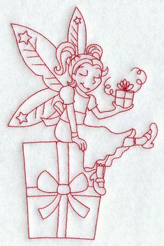 Christmas Redwork Embroidery | Christmas Present Fairy (Redwork)