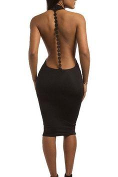 Sexy Deep V-neck Backless Bodycon Club Dress