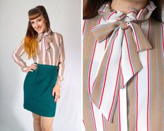 Vintage 1970s Striped Tie Neck Secretary Blouse w/ Ruffles // 70s Multicolor White Tan Vertical Pinstripe Long Sleeve Button Up | size S M | by Birthday Life Vintage on Etsy | $22.00