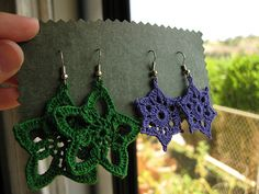 Crochet Earring Pattern. Free Pattern from Yarnover Spree.