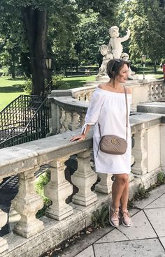 This little white off shoulder dress is my favorite summer casual outfit. Matched perfectly with nude bag and sneakers. Casual Summer Outfits, White Outfits, Nude Bags, White Off Shoulder Dress, Style Fashion, Fashion Outfits, Little White Dresses, Vienna, Lace Skirt