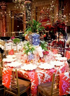 Kazak tablecloths at the table of Sam Allen at the Lenox Hill Neighborhood House Spring Gala