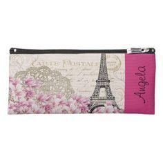 #pink - #vintage pink floral hina pattern eiffel tower pencil case