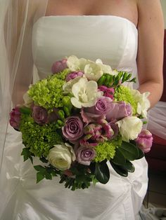 bridal bouquet with muted purples and green