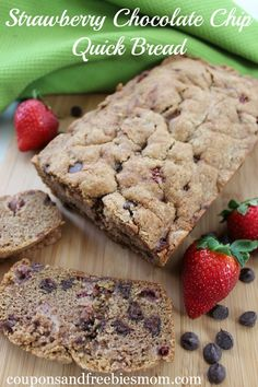 Strawberry Chocolate Chip Quick Bread - sweet and delicious dessert bread that makes the perfect homemade gift!