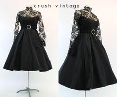 60s Oscar de La Renta Dress S / 1960s Black Lace by CrushVintage, $226.00