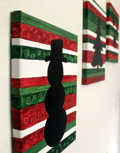 Christmas Silhouettes- Original Painted Silhouettes - Three 8 X 10 Canvases - Colorful Modern Wall Art by Bethany Sullivan