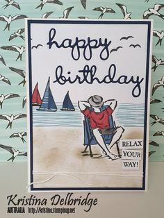 Kristina Delbridge - Independent Stampin' Up! Demonstrator Australia: A Good Man Masculine Birthday Cards, Birthday Cards For Men, Handmade Birthday Cards, Man Birthday, Masculine Cards, Birthday Quotes, Birthday Gifts, Stampin Up Karten, Beach Cards