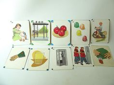 Vintage Picture Flashcards teaching school lot group by PassedBy