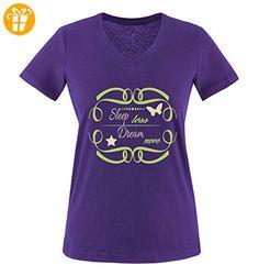 Comedy Shirts - Sleep less Dream more - SCHMETTERLING - Damen V-Neck T-Shirt - Lila / Hellgrün-Beige Gr. L - Shirts mit spruch (*Partner-Link)