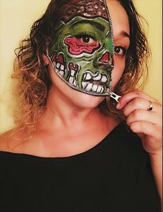 Pop art zombie zipper face: | 23 Jaw-Dropping Halloween Costumes Made Literally Only With Makeup