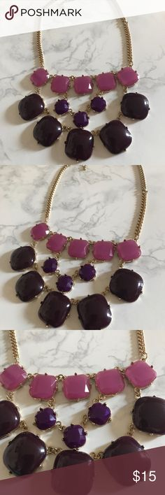 Purple statement Necklace Two different purple shades. Bauble necklace. In brand new condition. Worn once. Gold necklace with two purple's. Jewelry Necklaces