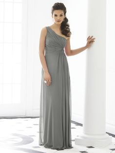 Shop After Six Bridesmaid Dress - 6651 in Lux Chiffon at Weddington Way. Find the perfect made-to-order bridesmaid dresses for your bridal party in your favorite color, style and fabric at Weddington Way. One Shoulder Bridesmaid Dresses, Grey Bridesmaids, Bridesmaid Dress Styles, Shoulder Dress, Dessy Bridesmaid, Cornflower Blue Bridesmaid Dresses, Cranberry Bridesmaid Dresses, Bridesmaid Hairstyles, Shoulder Strap