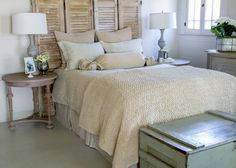 Love the shutters as a headboard and the woven blanket is amazing. Cottage Cream Bedroom | REstyleSOURCE.