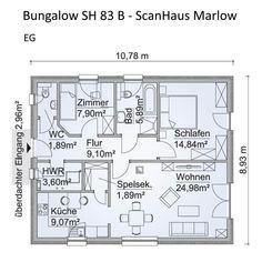 moderner bungalow haus grundriss erdgeschoss rechteckig 3 zimmer 83 qm walmdach kuche mit speisekammer einfamilienhaus ebenerdig bauen ideen