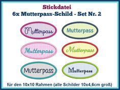 Stickdatei Stickmuster Set-Nr 2 Mutterpass 6x von Rock-Queen auf DaWanda.com