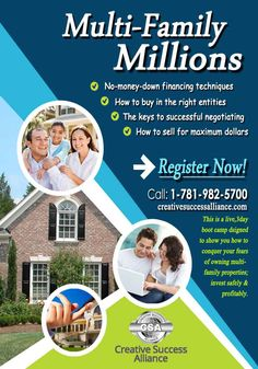 Multi-Family Millions July 17 – 19, 2015 – #Boston , MA  This is a live, 3-day #bootcamp designed to show you how to conquer your fears of owning #multifamily #properties ; #invest safely & profitably; and never deal with tenants except to deposit their checks into your bank account. You will leave this event a multi-family #investing profit expert!