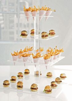 "wedding food ideas fries - its an idea, a ""mini"" earthquake burger? ..what else is fair food but nice? Salmon?"
