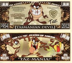 Tasmanian Devil Million Dollar Novelty Money