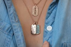 14kt gold and diamond moon and stars mini dog tag necklace – Luna Skye