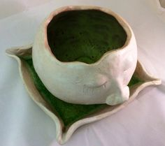 SALE Ceramic Snow Ball Planter with fused glass by MuddyRiverClay