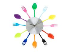 Q: How awesome is this colorful utensil wall clock for the kitchen? A: Pretty darn awesome. #hgtvmagazine http://www.hgtv.com/kitchens/quick-and-colorful-kitchen-upgrades/pictures/page-9.html?soc=pinterest