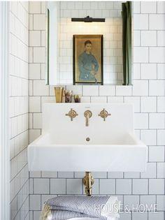 unlacquered brass bathroom faucet Kohler Purist http://mysoulfulhome.com